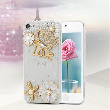 Handmade 3D Luxury Bling Crystal Rhinestone Case Hard Plastic Protective Skin Cover for Apple iPod Touch 5