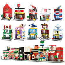 City Mini Street 3D Model Retail Store Shop KFCE McDonald Cafe Apple Architecture Classic Building Block Toy Compatible Legoedly(China)