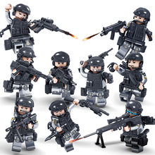 Kazi 9sets/lot Swat Team Police Building blocks Bricks Figures Weapon Compatible Legoe Set City Brinquedos Toys For Children Kid(China)