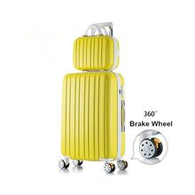Wholesale!14 22inches abs+pc hardside strip trollely luggage bags on universal wheels,fashion mother and son travel luggage sets