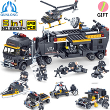 Qunlong Toys Military SWAT Team Command Vehicle Car Building Blocks Compatible Legoe City Police Figures Helicopter Toys Boy(China)
