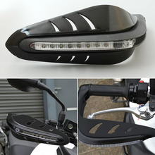 Cool Black Motorbike Motorcycle Handguard Protector Brush Guards LED DRL Signal Daytime Runing Light Lamp