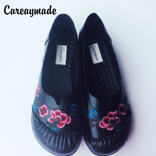 Careaymade-head layer cowhide pure handmade Embroidered shoes personality folk style womens shallow soft bottom export shoes<br>