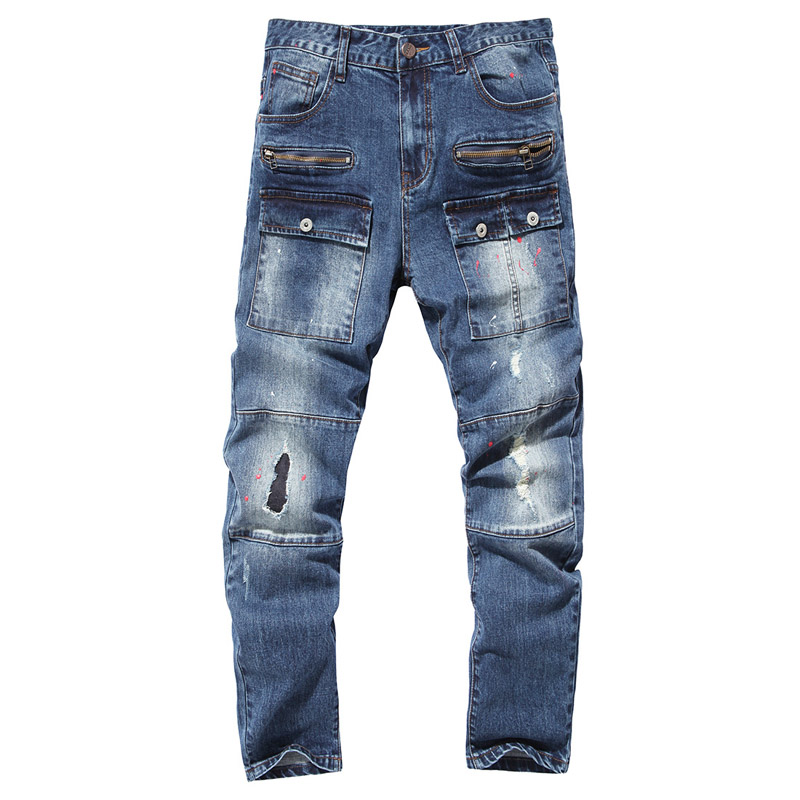 Mens ripped jeans designer destroyed jeans for men 2017 spring fashion bleached jeans multi pockets cargo pants colored paintsÎäåæäà è àêñåññóàðû<br><br>