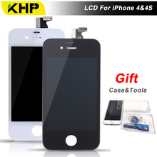 100% KHP AAAA Quality LCD For iPhone 4S 4 Screen Replacement LCD Display Touch Screen Digitizer With Case Tool Kits Gifts
