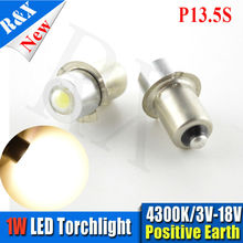 High power 10pcs/lot PR/P13.5S 1w LED upgrade bulb lamp 3-18V for Maglite torch flashlight Warm White(China)