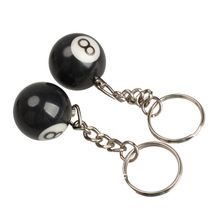 2pcs Lucky NO.8 Billiard Pool Keychain Snooker Table Ball Key Ring Gift C901(China)