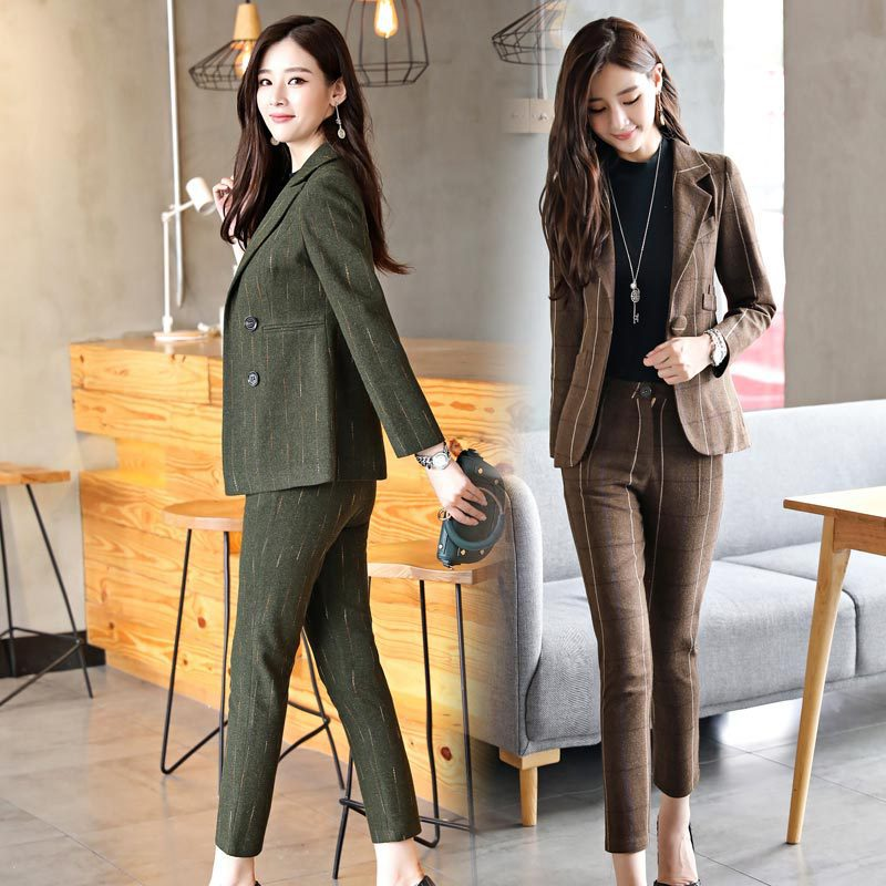 New autumn suit lattice European and American jacket + nine pants Slim fashion suit temperament Two pieces / 1 set