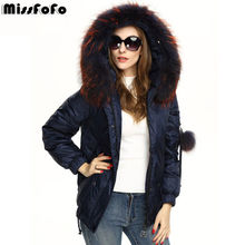 MissFoFo Brand 2016 New Women Down Jackets CLJ Fashion Real Raccoon Dog Fur Hood Down Coat 2XL Color Short Parka 90% White Duck