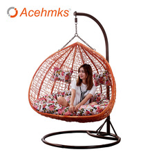 Waterproof Pad Rattan Wicker Hanging Egg Swing With Cushion Outdoor Patio Garden Chairs Cheap For Sale Factory Direct Supplier(China)