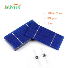 Jslinter 30pcs 104x52 1w Solar Cells Diy 12v Solar panel China Price Cheap Poly Cells with 2 pcs Diode(China)