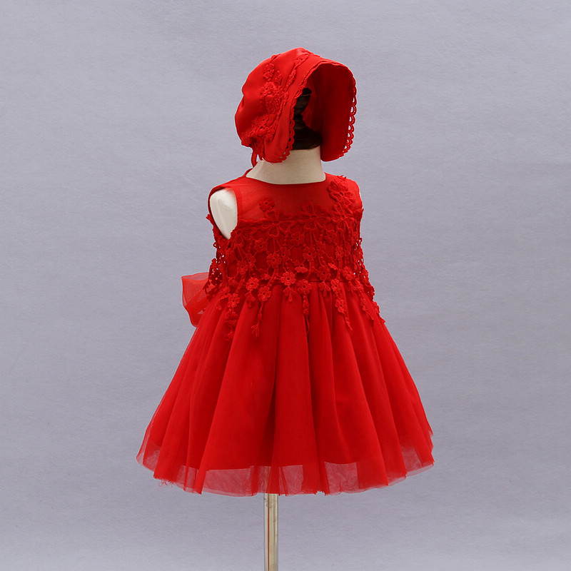 Free Shipping Retail Girl Dresses Children Dress Party  Summer Princess Baby Girl Wedding Dress Hat Birthday  3-24M Red 9030BB <br><br>Aliexpress