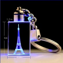 Laser Engraved Eiffel Tower Crystal Decorative Cube With Variable Color LED Lighting Miniature DIY Gifts For Friends Children