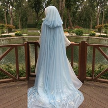 Vintage Light Blue Long Flowers Hooded Wedding Capes 2017 Chiffon Lace Bridal Wraps in fairy tale Vestidos Bridal Shawls B264
