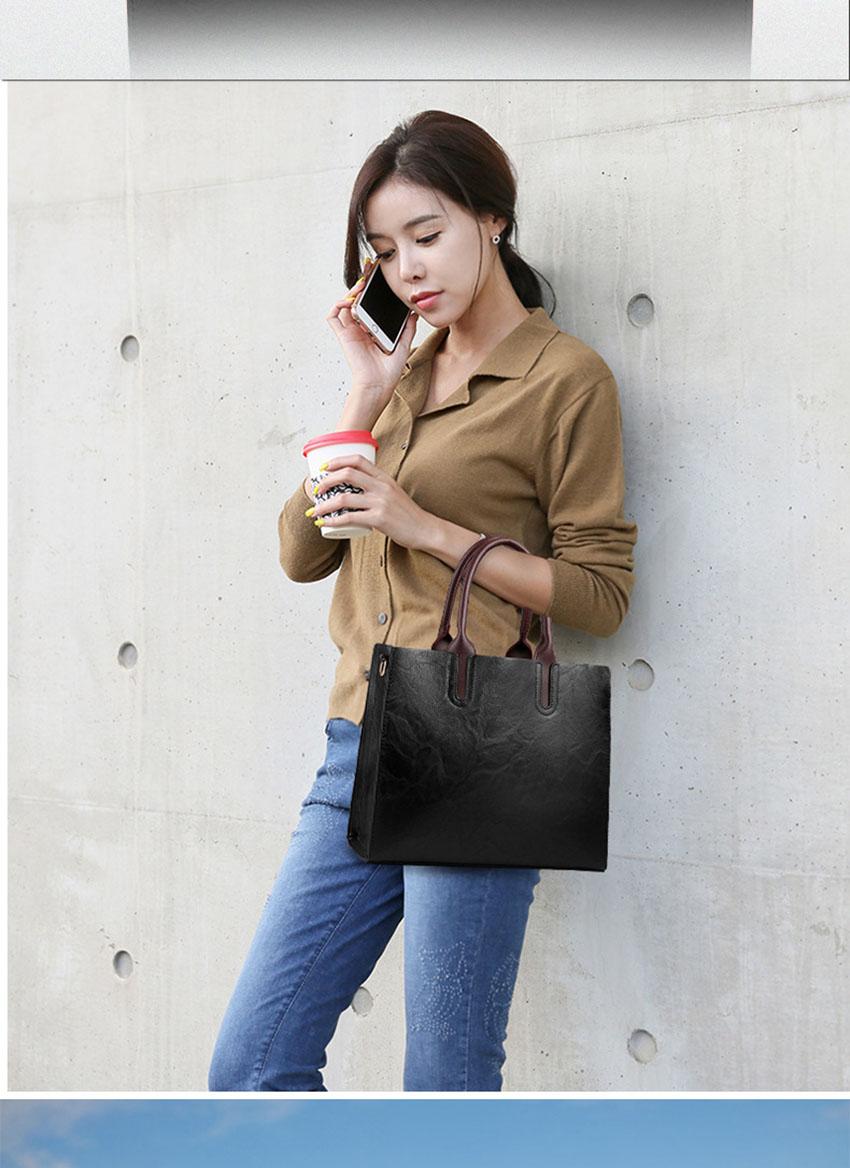 Women's Designer Large-Capacity Vintage Top-Handle Leather Tote Shoulder Bag