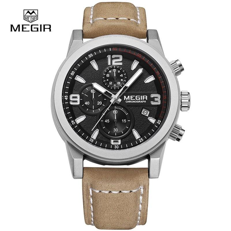 Megir Fashion Mens Chronograph Leather Strap Quartz watches with Luminous Needles Casual Luxury Calendar Wristwatch for Man 2026<br>