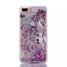 For iphone 7 plus Princess Snow White Mermaid Tinkerbell Elsa Olaf Mickey Minion Cartoon Glitter Liquid Case(China)