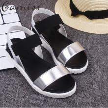 Gamiss Women Beach Sandals Summer Casual Flat Shoes Peep-toe Roman Sandals Lady Flip Flops Footwear Gladiator Sandalias Mujer