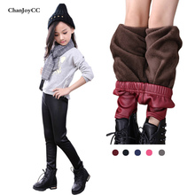 Brand ChanJoyCC New Fashion Winter Children Plus Velvet T Warm Leather Pants Girls Slim Stretch Leather Pants(China)