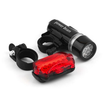 1 Set Waterproof Bike Lights 5 LEDs Bicycle Front Head Light+Rear Bike Safety Rear Flashlight Torch Lamp Bicycle Accessories