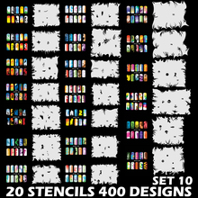 Custom Body Art Airbrush Nail Art Templates Stencil Set 10 with 20 Stencil Template Design Sheets 400 Designs(China)