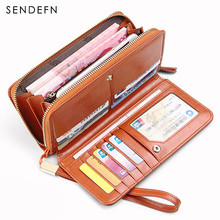 Sendefn Sample Style Wallet Long Quality Leather Wallet Fashion Purse Lady Clutch Card Holder With Phone Pocket monedero mujer(China)