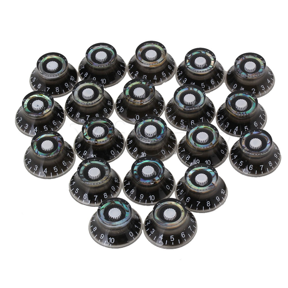 Yibuy 20x Black Electric Guitar UFO Volume Tone Speed Control Knobs w/ White Numbers<br>