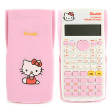 Hello Kitty & Doraemon Function Calculator Uniwise 10+2 Digital Display 2-Line LCD Scientific Calculator, Shipping No Battery(China)