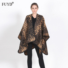 FUYUANDA Leopard Cashmere Poncho Luxury Brand Cape Wraps For Women Winter Sexy Hijab Blanket Thick Wool Big Shawls And Scarf