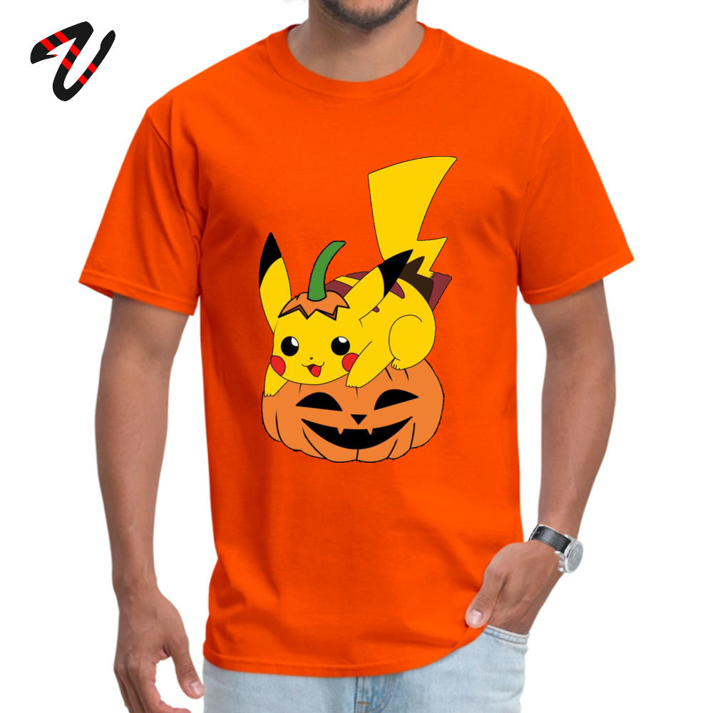 Printed On Short Sleeve Tops & Tees Mother Day Graphic Crew Neck Cotton Tops Shirt Student T-Shirt PikachuHalloweenPokemon PikachuHalloweenPokemon orange