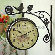 Retro Dual Sided Outdoor Iron Wall Clock with Wall Bracket Free Shipping Welcome Wall Mounted Metal Bird Clock Home Decoration