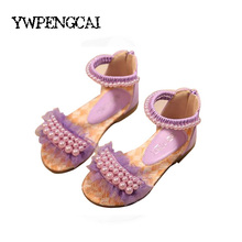 Girls Sandals 2017 Summer Beading Beach Shoes Princess Gladiator Sandals Kids Party Dancing Sandals Size 21-36 Baby Girl Sandals