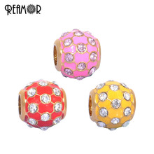 REAMOR 316l Stainless Steel Vacuum Gold-color Pink & Red & Yellow Enamel Crystal European Large Hole Beads Charms Jewelry(China)
