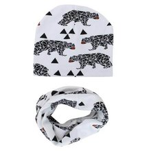 Toddlers Children Caps Scarves Set Winter Autumn Baby Hat knitted Girl Boy Cap Cotton Scarf