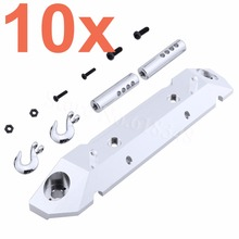 10 Sets Aluminum Rear Bumper & Metal Tow Hooks for 1/10 Axial SCX10 RC Rock Crawler Truck AX80126 CNC(China)