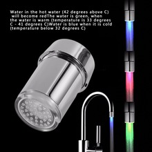 3 Color LED Light Change Faucet Shower Water Tap Temperature Sensor Water Faucet Glow Shower Left Screw with Converter