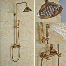 Luxury W/Hand Shower Tub Faucet Bath Rainfall Shower Set Antique Brass Shower Units(China)