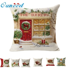 Ouneed Christmas Linen Square Throw Flax Pillow Case Decorative Cushion Pillow Cover U6905 DROP SHIP