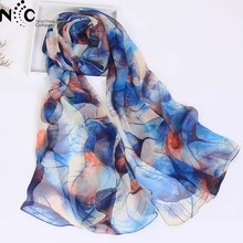 fashion leaves printing long georgette scarf women silk scarves new 2017 Autumn Winter girls shawl echarpe from india(China)