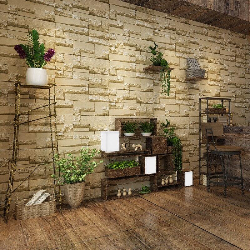 beibehang Nonwovens Brick Wallpaper 3D Stereo Beige Brick Brick Background Wall Clothing Shop Wallpaper<br>