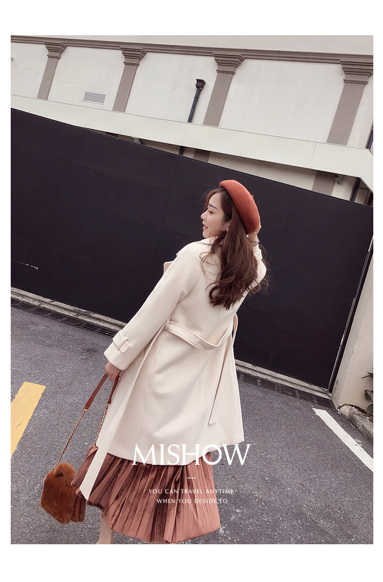 Mishow 19 autumn and winter woolen coat female Mid-Long New Korean temperament women's popular woolen coat MX17D9636 14