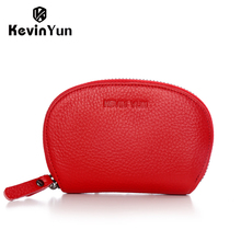 KEVIN YUN designer brand women card holder genuine leather small zipper purse credit card case wallet(China)