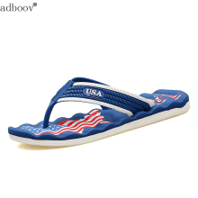 New USA logo mens sandals quality the Stars and Stripes style man slippers plus size boys the Star-Spangled Banner flip flops(China)