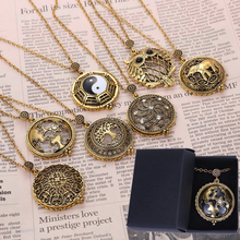 5 times Vintage Magnifying Glass Pendant Necklace World Map Tai Chi Owl Life Tree Elephant Pocket Watch Time collar collier(China)