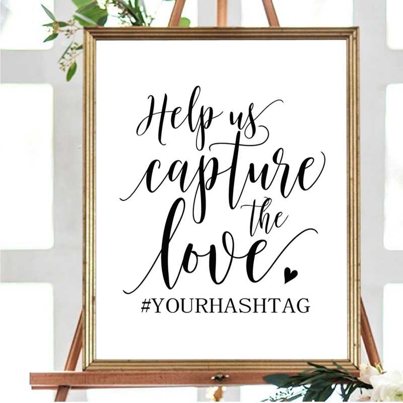 Wedding Hashtag Custom Poster Art Prints , Love Quote Canvas Painting Instagram Wedding Sign Personalized Picture Art Decor
