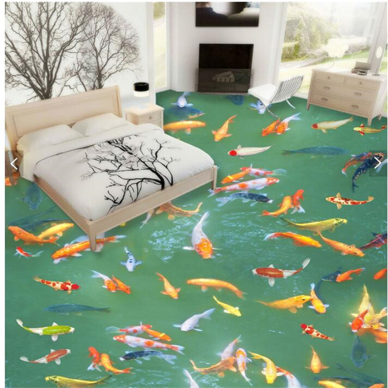 Customized High Quality 3D Carp 3D Chinese Carpet Floor Decorative Covering Stickers Waterproof Anti-skid 3D Self-adhesive Stick<br><br>Aliexpress