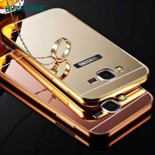 Fashion Rose Gold Silver Black Beauty Frame Mirror Case For Samsung galaxy j3 2016 j320 j320f  Back Shell Cover Housing New