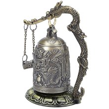 Antique Home Decoration Zinc Alloy Vintage Style Bronze Lock Dragon Carved Buddhist Bell Chinese Geomantic Artware Exquisite(China)