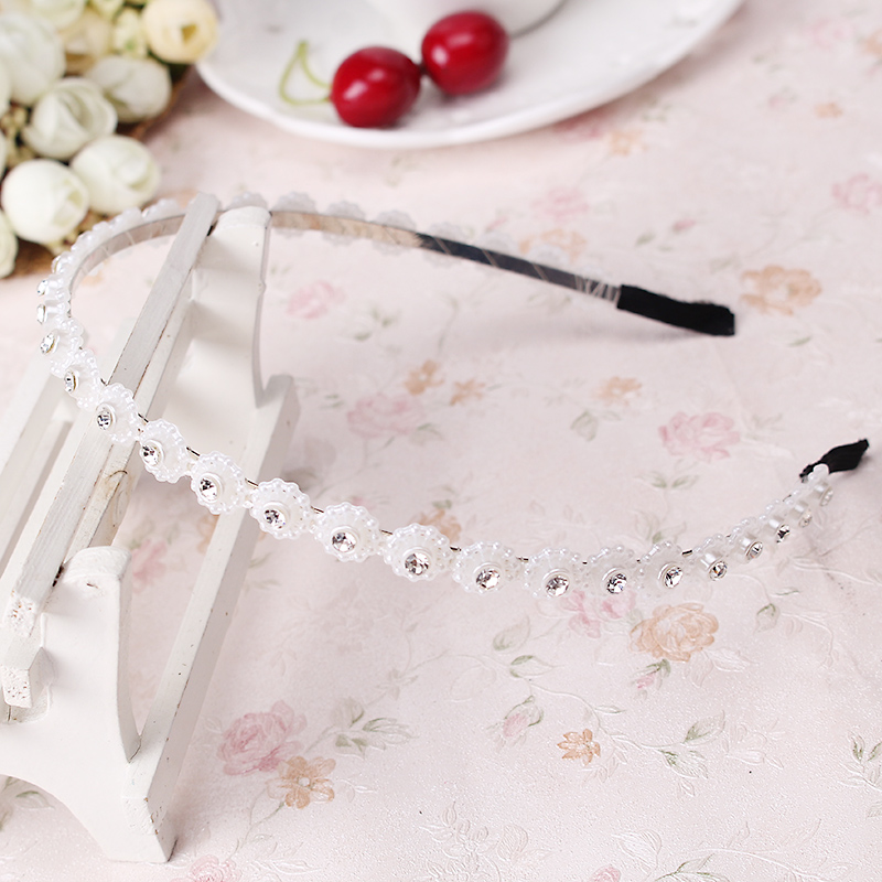 M MISM 1pc Cute White Flowers Hairband Women Headband Girls Charming Rhinestone Hair Band Hair Accessories bande de cheveux(China (Mainland))