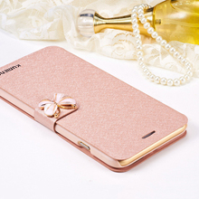 Leather Wallet Card Magnetic Flip Bling Diamond Butterfly bow knot Case For iPhone SE 6 6S Plus 7 7 Plus Cases W/ Stand Holder(China)